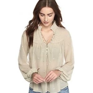 NWT Free People Ready to Run Dot Georgette Top